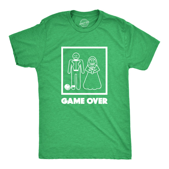 Funny Game Over Mens T Shirt Nerdy Video Games Wedding Tee