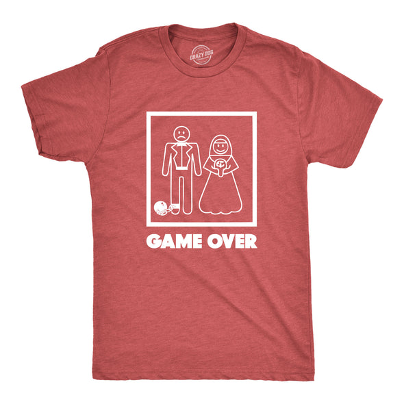 Funny Red Game Over Mens T Shirt Nerdy Video Games Wedding Tee