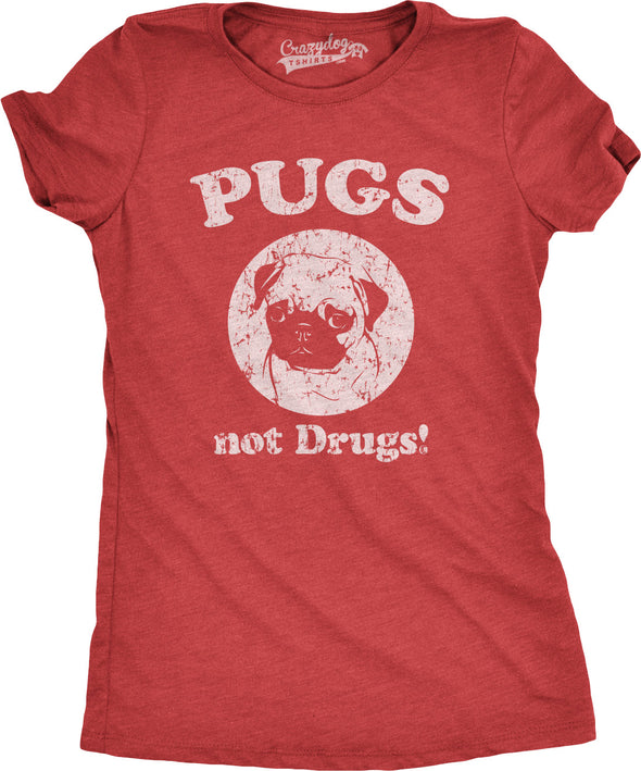 Funny Red Pugs Not Drugs Womens T Shirt Nerdy Dog Tee