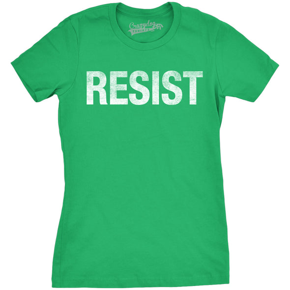 Funny Green RESIST Womens T Shirt Nerdy Political Tee