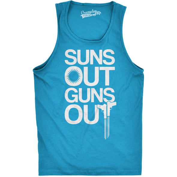 Funny Turquoise Suns Out Guns Out Mens Tank Top Nerdy Fitness Tee