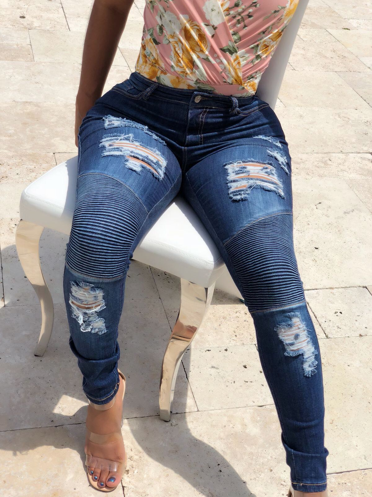 High Waist Ribbed Distressed Jeans
