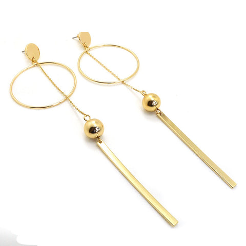 Circle Ball Drop Earrings