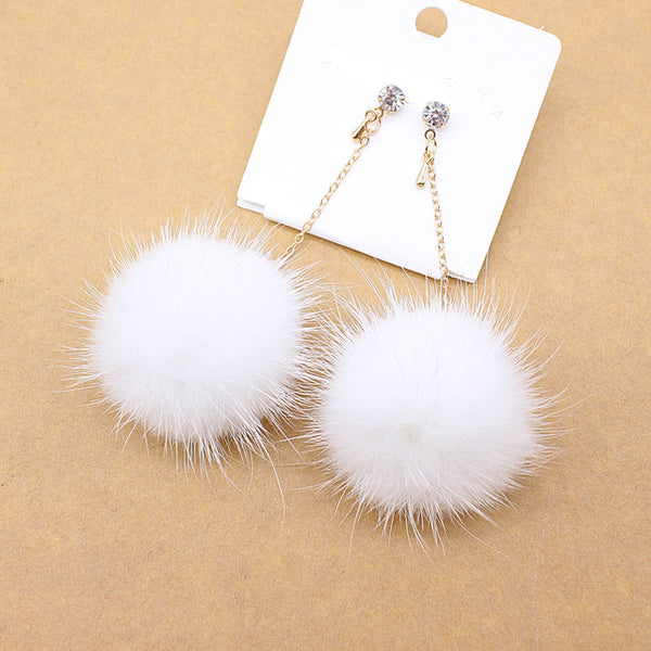 Fur Ball Pompom Earrings