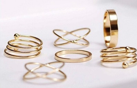 6pc Knuckle Ring Set