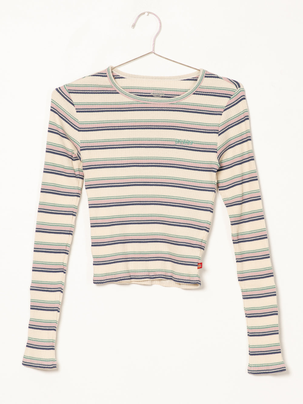 WOMENS POOR BOY RIB EMB LONG SLEEVE TEE - WHT