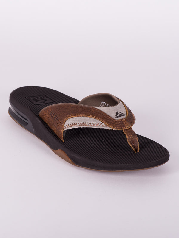 MENS LEATHER FANNING BROWN SANDALS