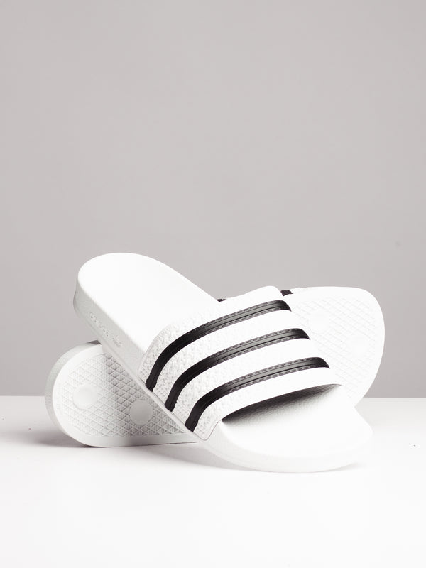 MENS ADILETTE WHITE/BLACK SANDALS