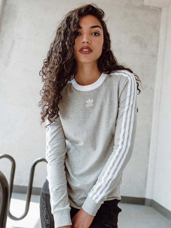 WOMENS 3STRIPES LONG SLEEVE T-SHIRTEE - GREY
