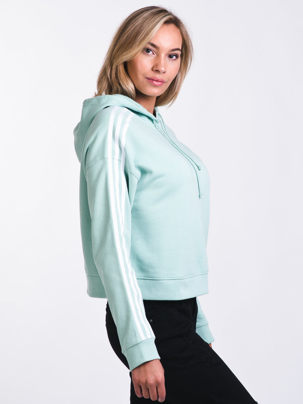 WOMENS CROPPED HOODIE - BLUSH GREEN