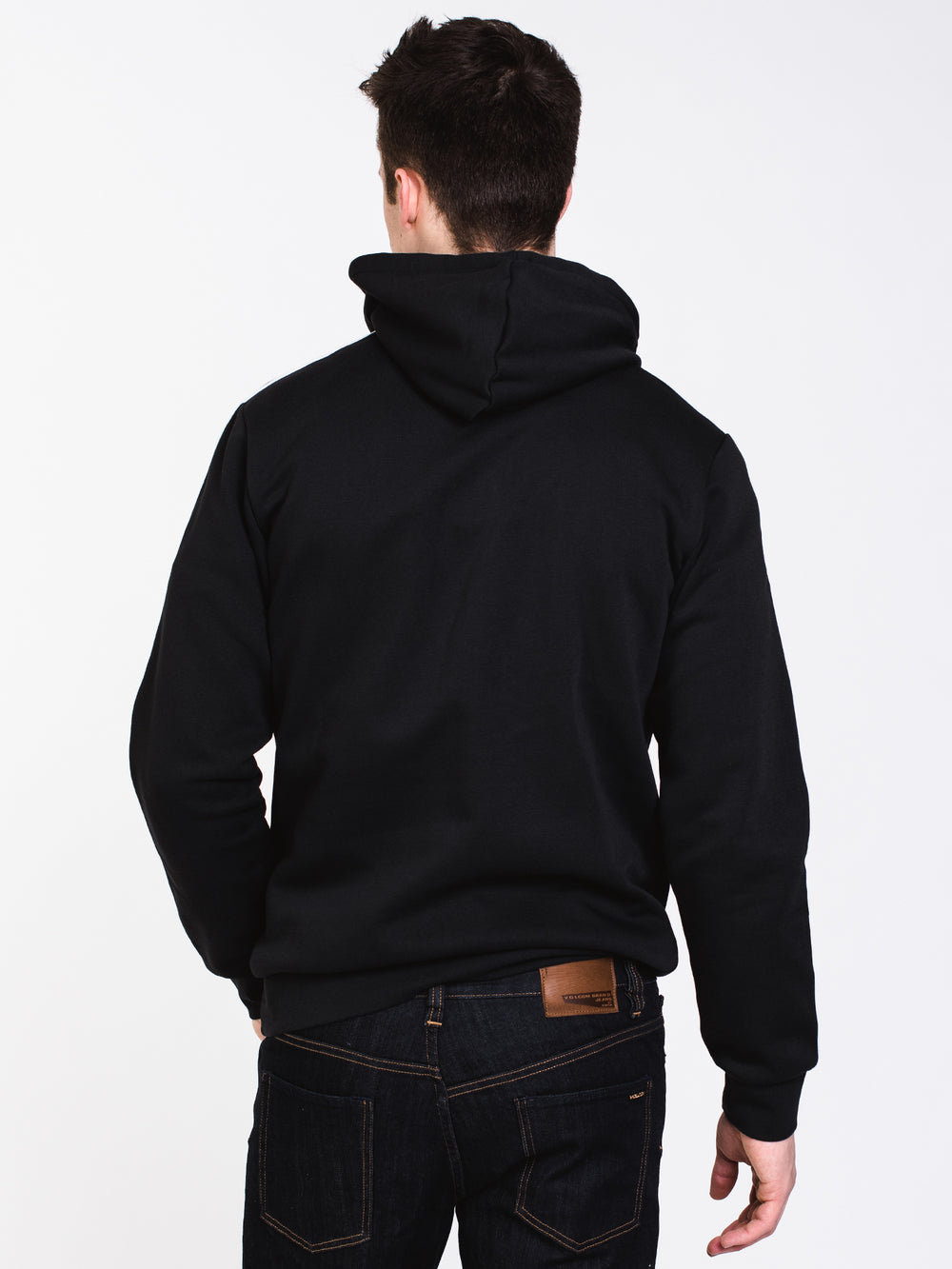 MENS E 3STRIPE Pullover HOOD - BLACK