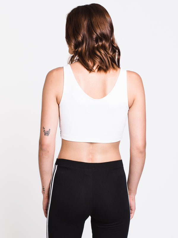 WOMENS 3STRIPE CROP TANK TOP- WHITE