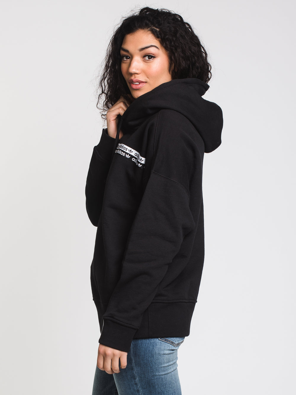 WOMENS STRIPE CHEST PULLOVER HOODIE - BLACK