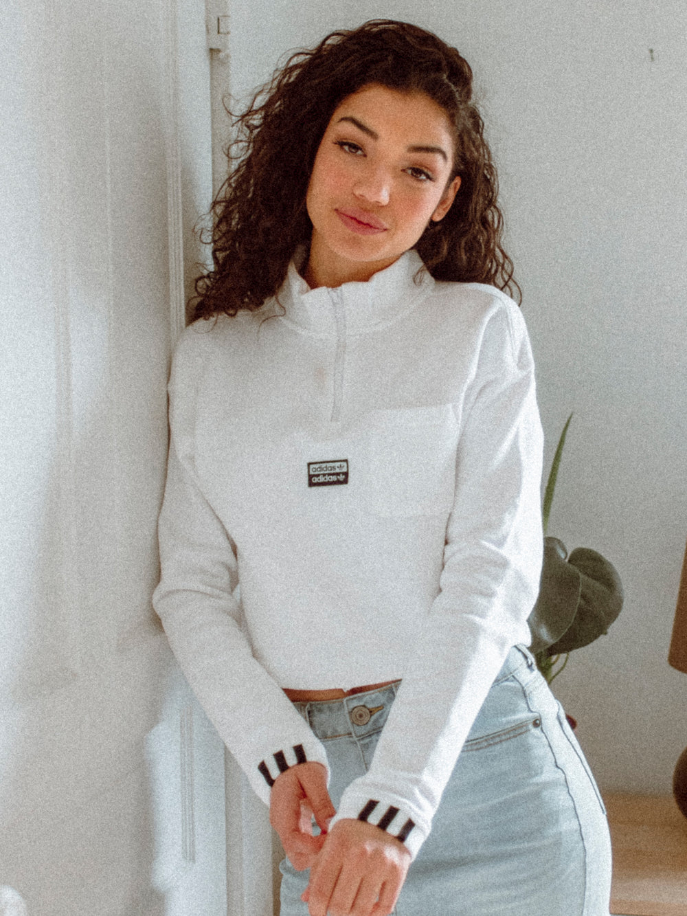 WOMENS CROP SWEAT 3Q PULLOVER - WHITE