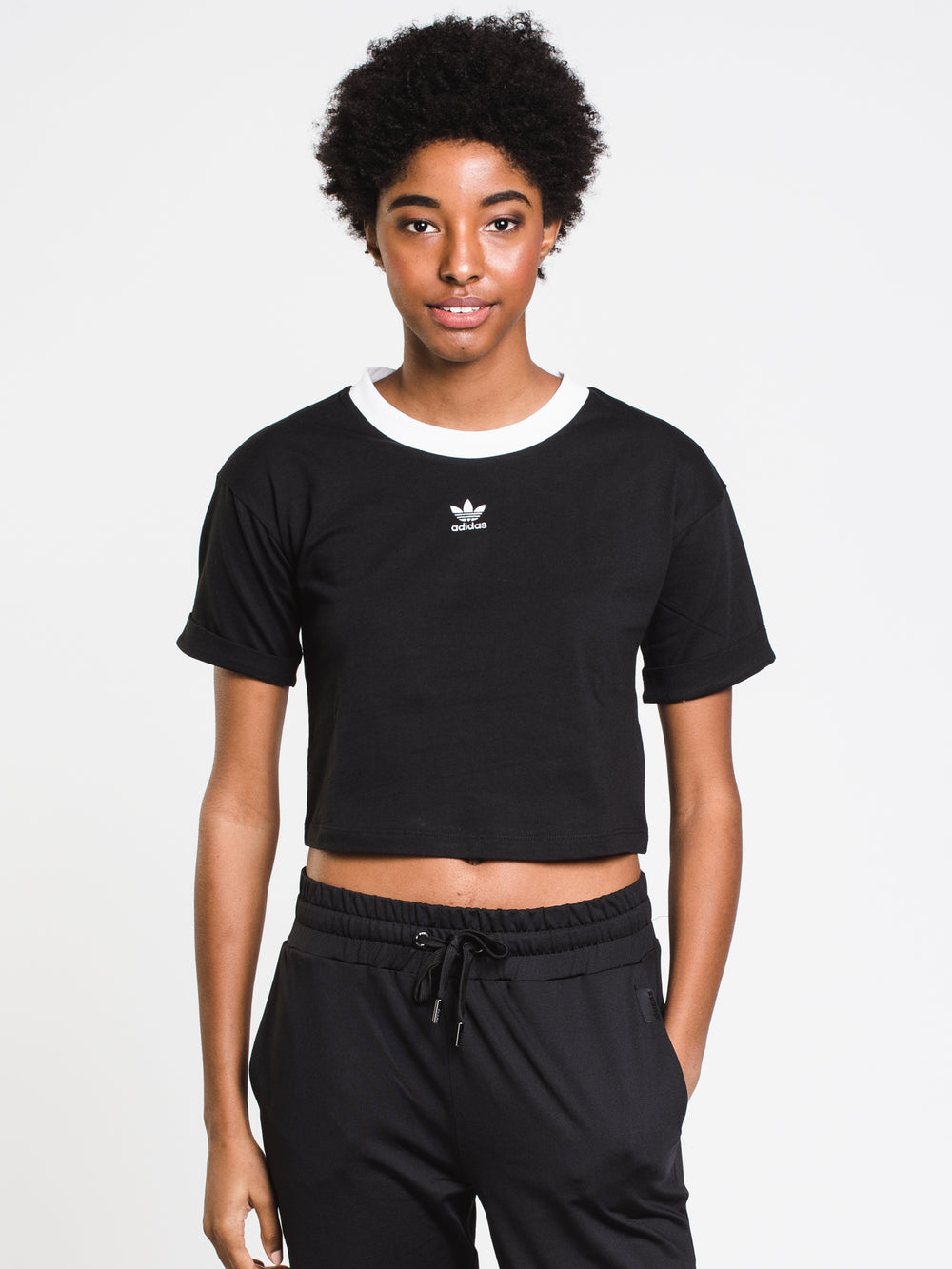 WOMENS CROP SHORT SLEEVE LOGO TEE - BLACK