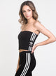 WOMENS 3STRIPE TUBE TOP - BLACK