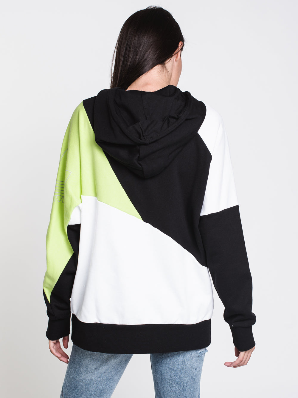 WOMENS COLOUR BLOCK PULLOVER HDY - B/W