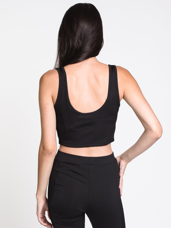 WOMENS CROPPED RIB TANK TOP- BLK