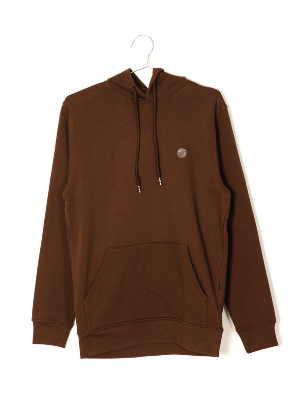 MENS B.COOLS PATCH PULLOVER HOODIE- CHOC