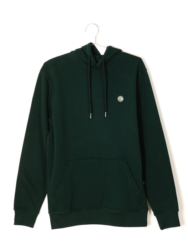 MENS B.COOLS PATCH PULLOVER HOODIE- GREEN