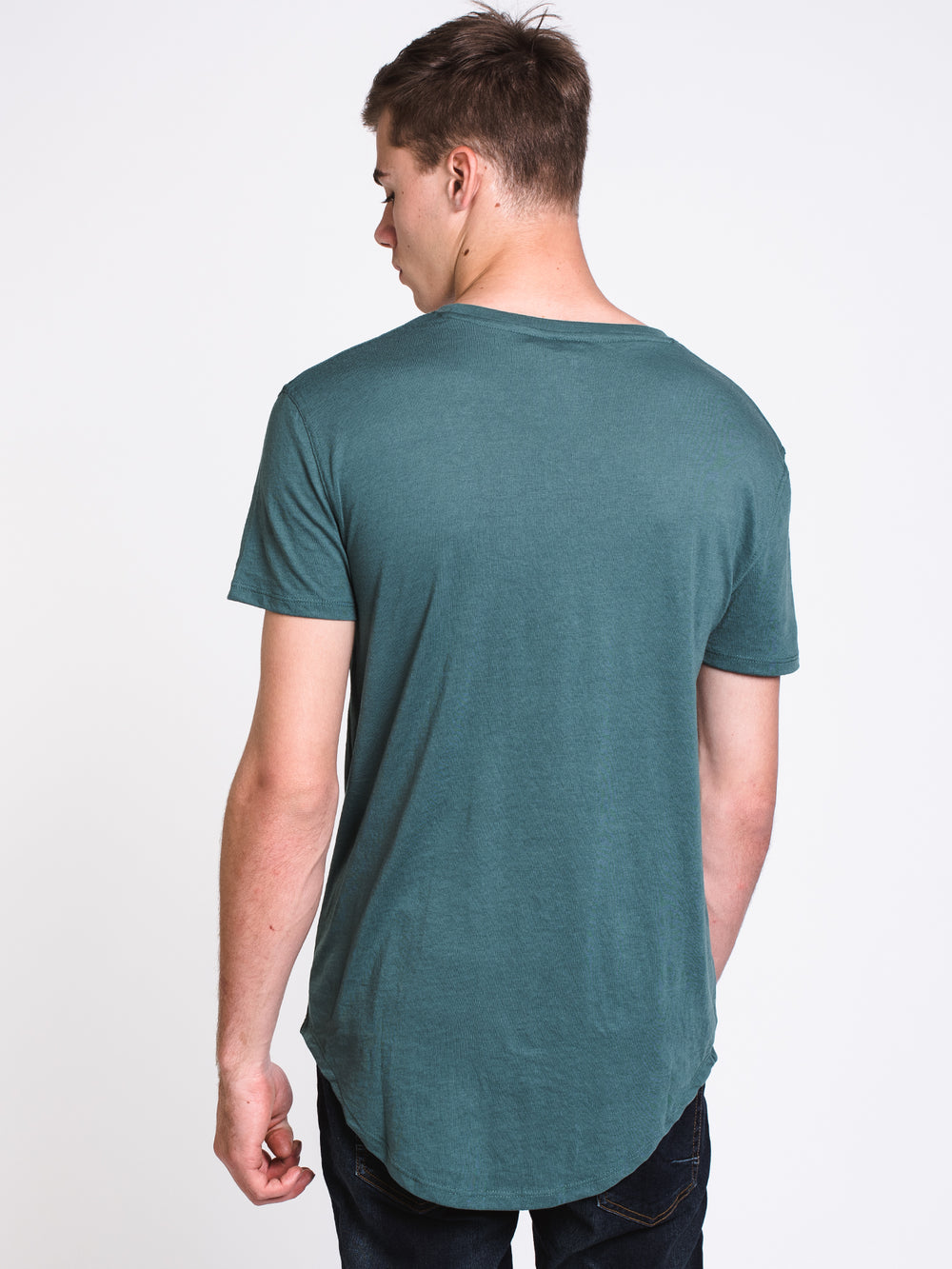 MENS LONGLINET-SHIRT- DUSTY GREEN