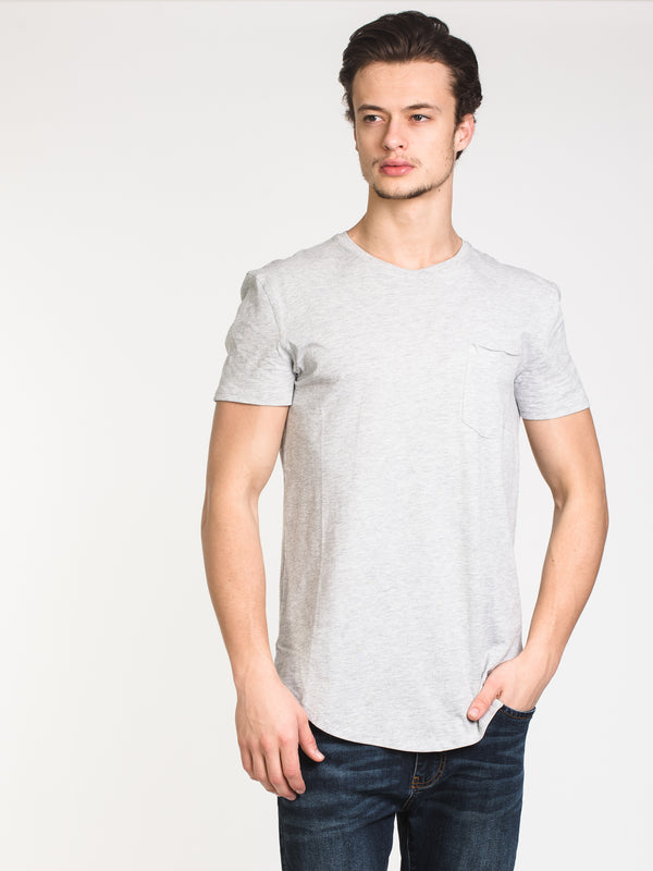 MENS LONGLINE T - HEATHER GREY