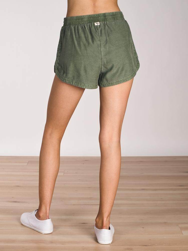 WOMENS ROAD TRIPPIN' SHORT - OLIVE- CLEARANCE