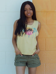 WOMENS SUNSET SKYLINE TANK - YELLOW
