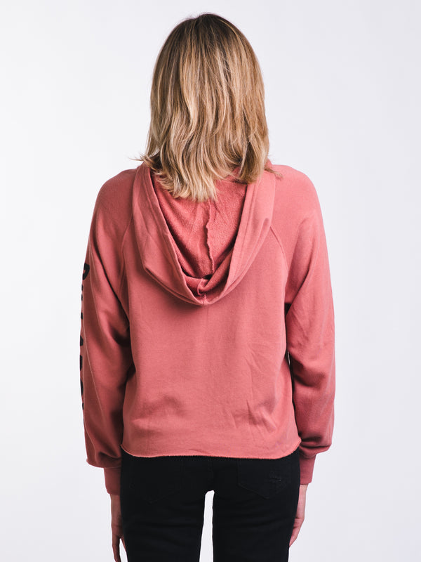 WOMENS BEACH DAZE CROP HOODY - ROSE
