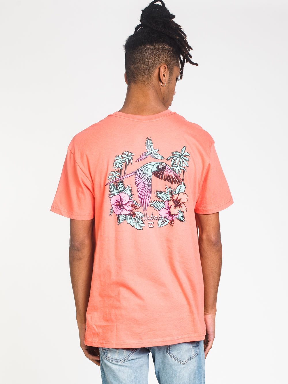 MENS PARROT SHORT SLEEVE T-SHIRT- CORAL