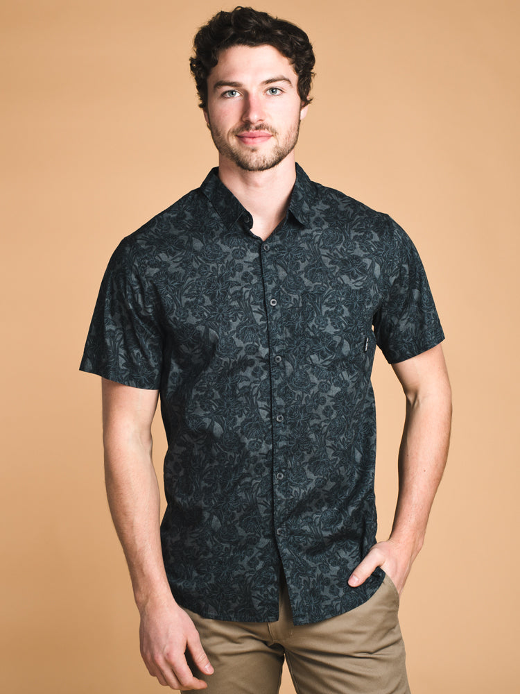 MENS SUNDAY MINI SHORT SLEEVE WOVEN - BLACK- CLEARANCE