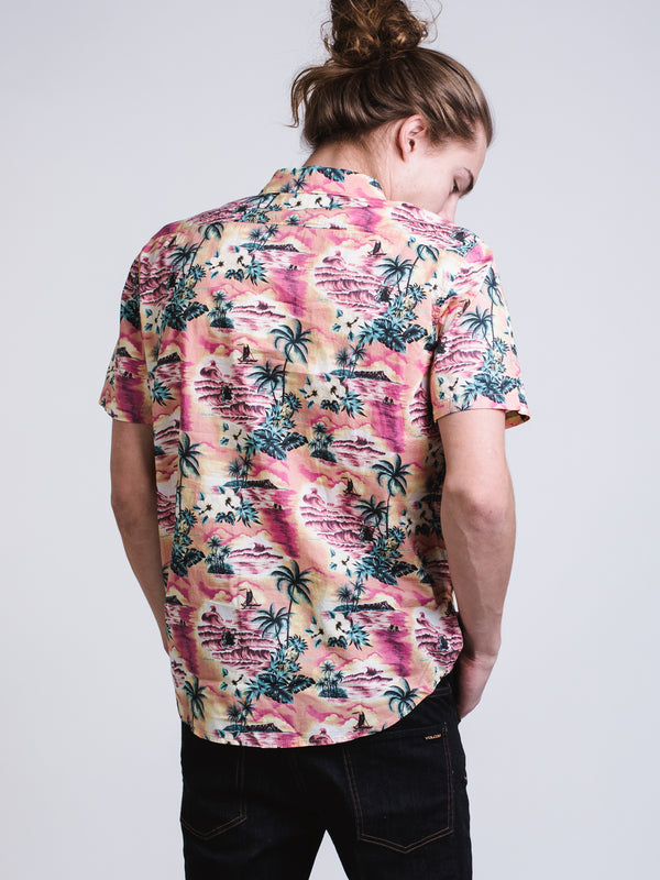 MENS SUNDAYS FLORAL SHORT SLEEVE Woven - CORAL