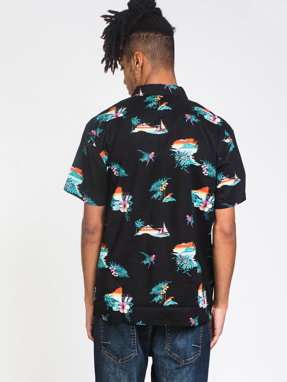 MENS SUNDAYS FLORAL SHORT SLEEVE WOVEN - BLACK