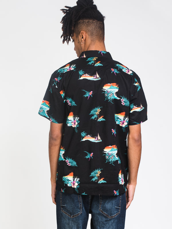 MENS SUNDAYS FLORAL SHORT SLEEVE WVN - BLACK