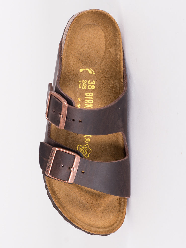WOMENS ARIZONA HAVANA OILED LEATHER SANDALS