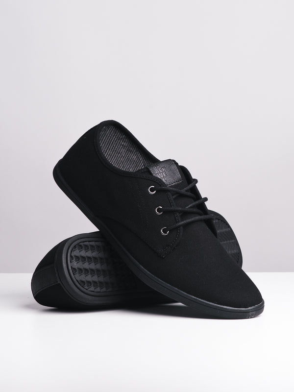 MENS MENS ISAAC BLACK/BLACK CANVAS SHOES
