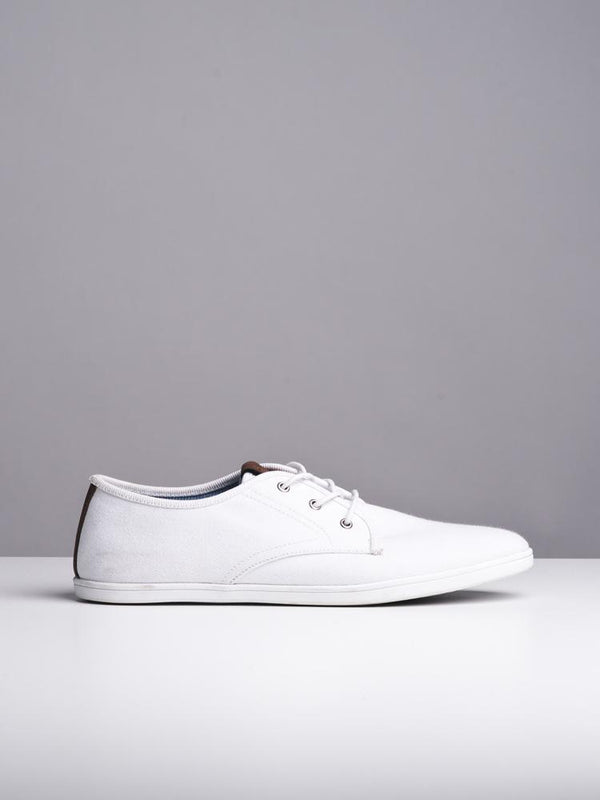 MENS ISAAC WHITE CANVAS SHOES- CLEARANCE