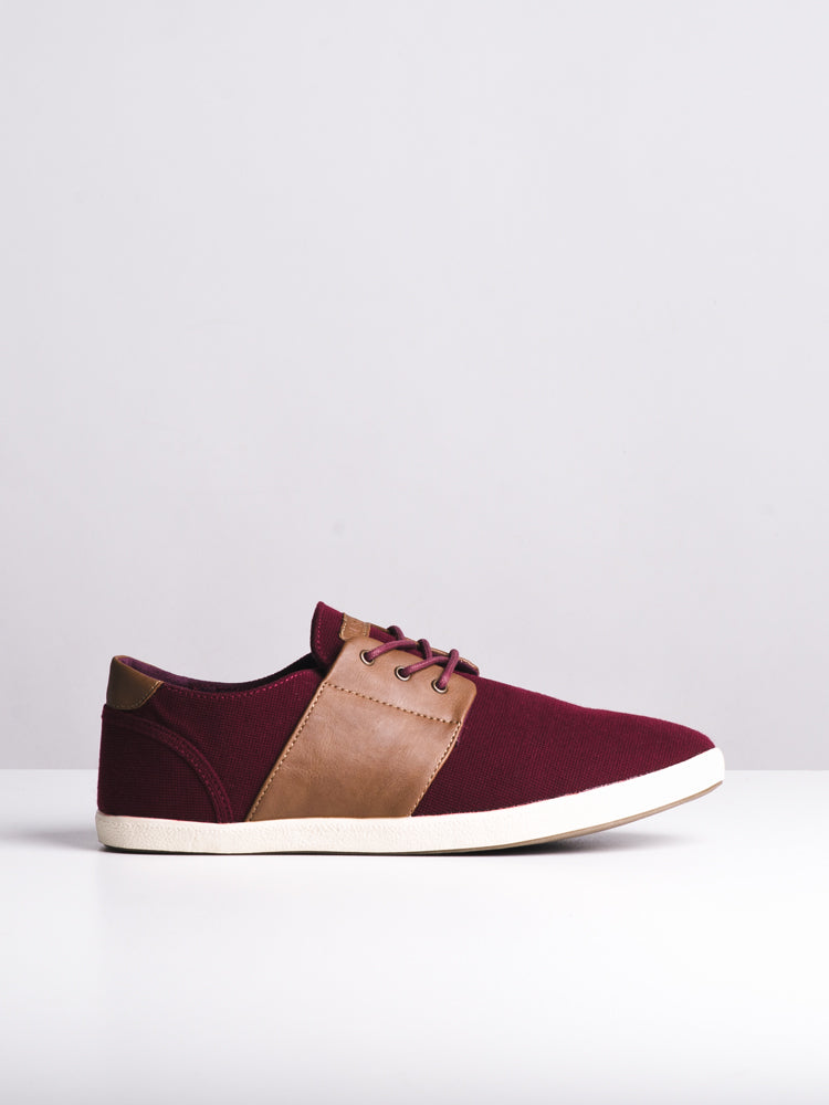 MENS AIDEN BURGUNDY CANVAS SHOES- CLEARANCE