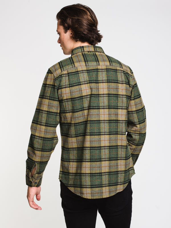MENS BOWERY LONG SLEEVE FLANEL - EVERGREEN
