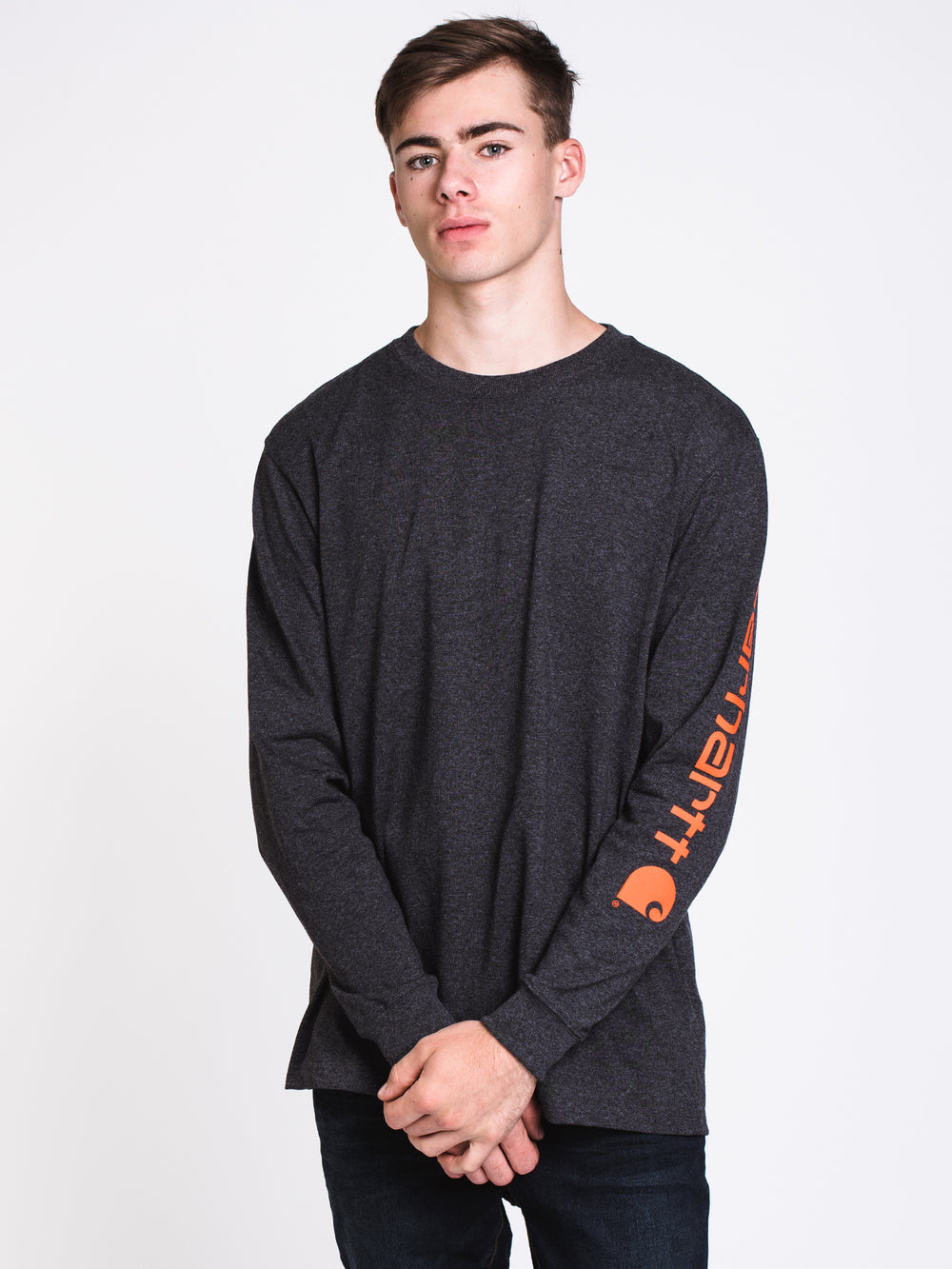 MENS CARHARTT SIG LONG SLEEVET-SHIRT- CARBON
