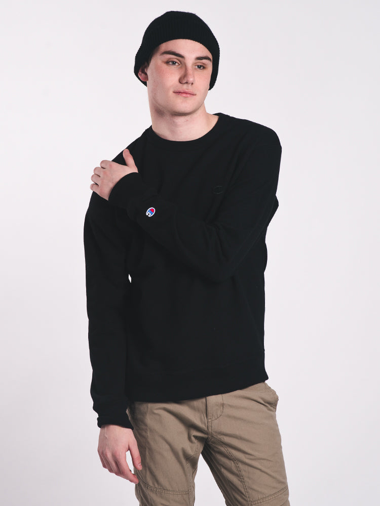 MENS POWERBLEND CREW FLEECE - BLK WL