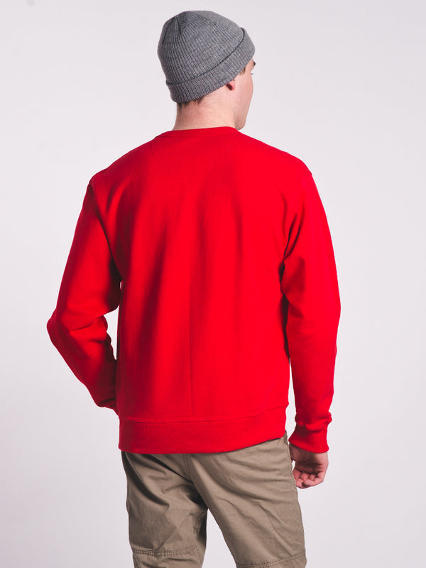 MENS POWERBLEND CREW FLEECE - RED WL