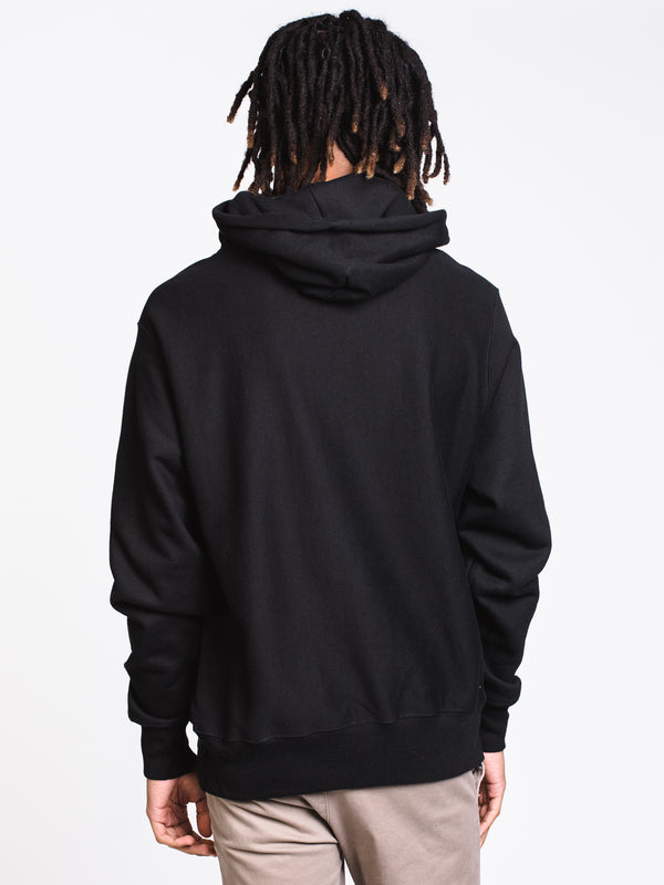 MENS REV WEAVE MESH/LEATHER PULLOVER - BLK