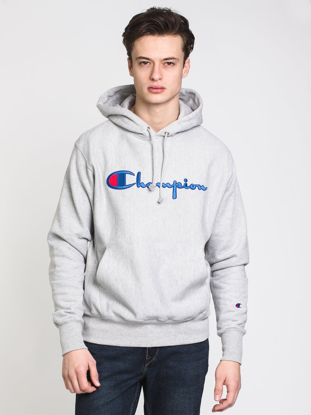 MENS RW EMBROIDERED SCRIPT PULLOVER HOODIE - GREY