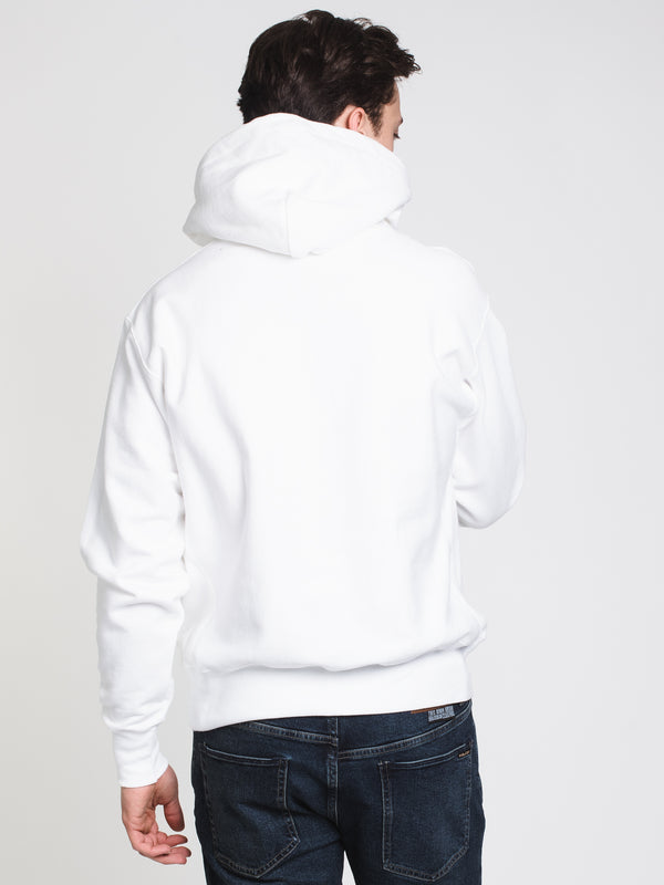 MENS RW EMB SCRIPT PULLOVER HOODIE - WHITE