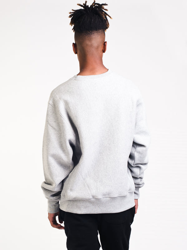 MENS REV WEAVE CREW FLEECE - OX GREY