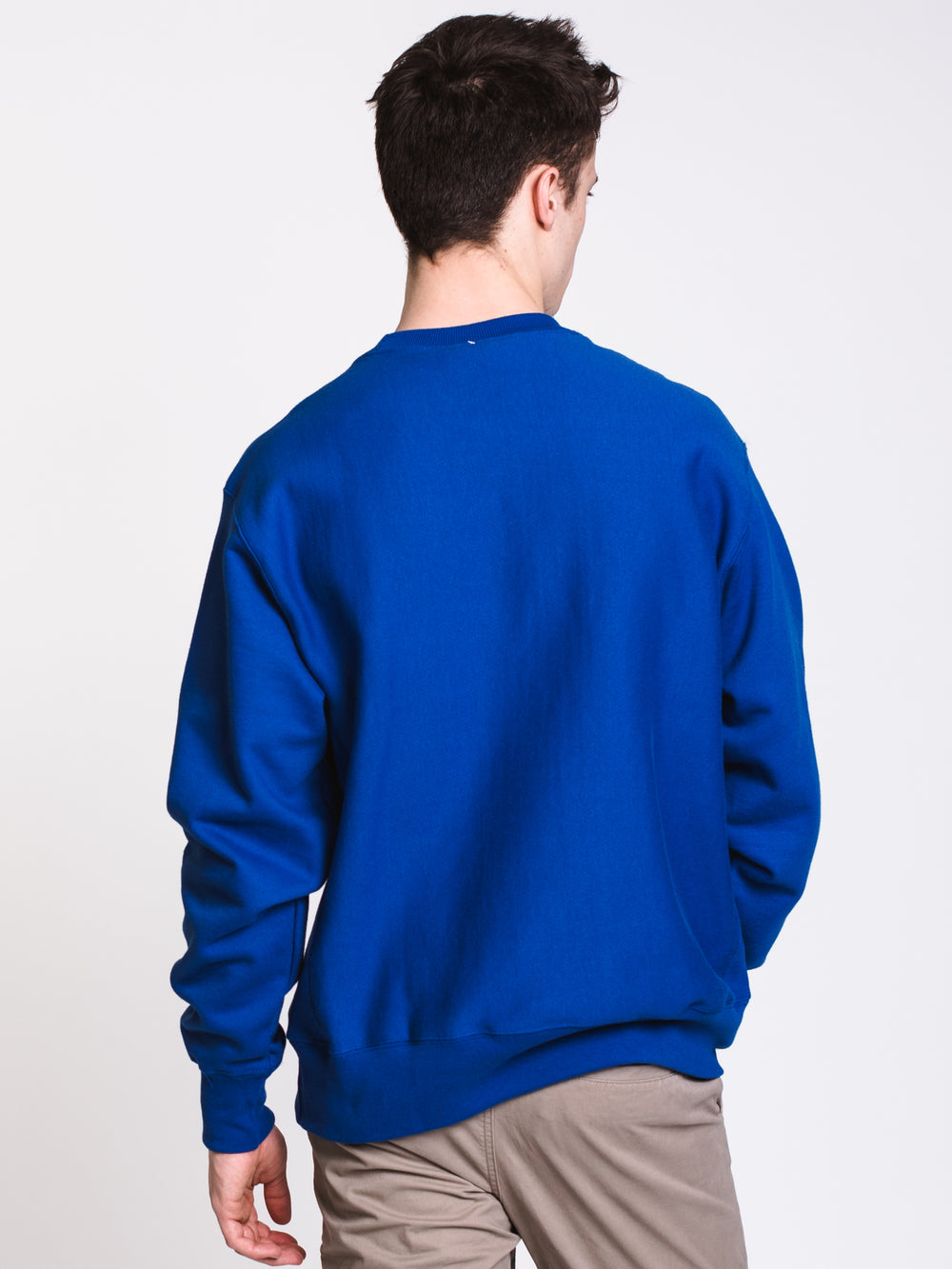 MENS REV WEAVE CREW FLEECE - ROYAL
