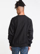 MENS REV WEAVE EMBROIDERED SCRIPT CREW-BLK
