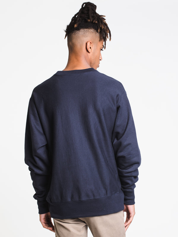 MENS REV WEAVE EMBROIDERED SCRIPT CREW-NVY