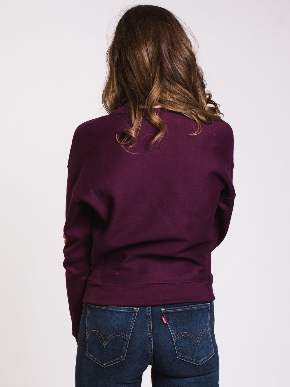 WOMENS REV WEAVE CREW - BERRY PURPLE